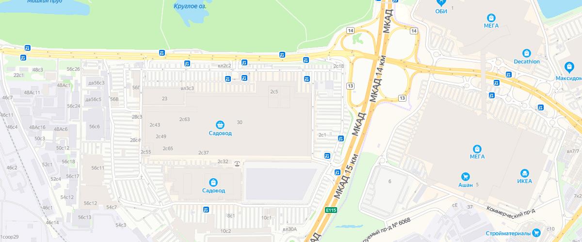 Адрес расположения рынка Садовод в Москве
