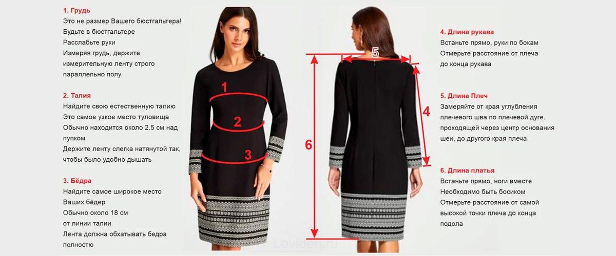 Как измерить женские блузки и платья